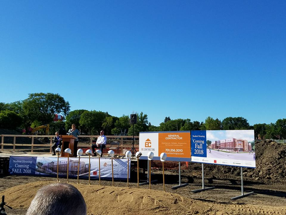BC Contracting speaking at groundbreaking ceremony for student housing construction project